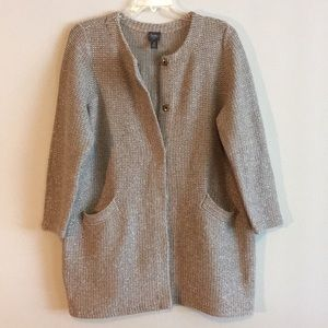 Chico's Woven Knit Long Cardigan Jacket Sweater